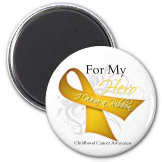 Para mi héroe llevo a un cáncer de la niñez de la  imán redondo 5 cm