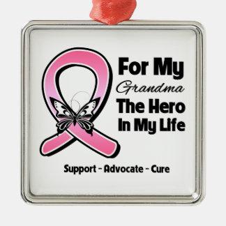 Para mi héroe mi cáncer de pecho de la abuela ornamentos de reyes magos