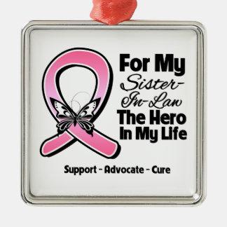 Para mi héroe mi cáncer de pecho de la cuñada ornamento de reyes magos