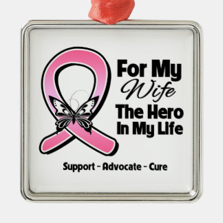 Para mi héroe mi cáncer de pecho de la esposa ornamentos de navidad