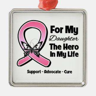 Para mi héroe mi cáncer de pecho de la hija ornamento de navidad