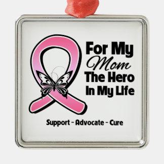 Para mi héroe mi cáncer de pecho de la mamá ornaments para arbol de navidad