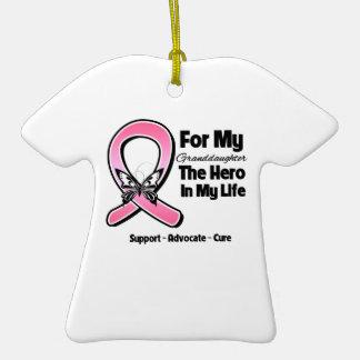 Para mi héroe mi cáncer de pecho de la nieta ornamento para reyes magos