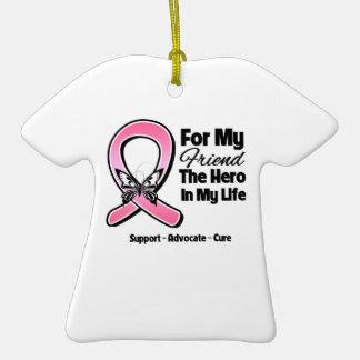 Para mi héroe mi cáncer de pecho del amigo adorno de navidad