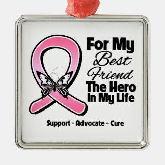 Para mi héroe mi cáncer de pecho del mejor amigo adorno navideño cuadrado de metal