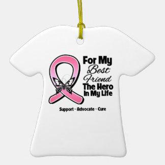 Para mi héroe mi cáncer de pecho del mejor amigo adornos de navidad