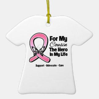 Para mi héroe mi cáncer de pecho del primo ornamento de navidad