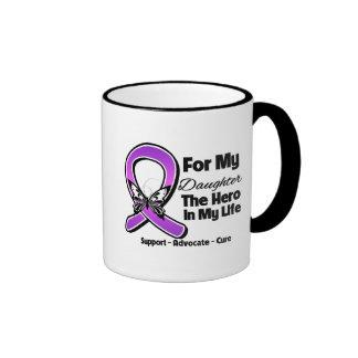 Para mi héroe mi hija - conciencia púrpura de la c taza de café