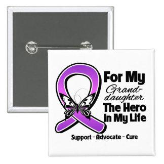 Para mi héroe mi nieta - cinta púrpura enterada pin cuadrada 5 cm