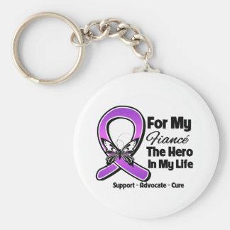 Para mi héroe mi prometido - conciencia púrpura de llaveros personalizados