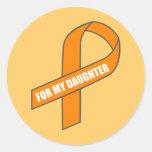 Para mi hija (cinta anaranjada) pegatina redonda