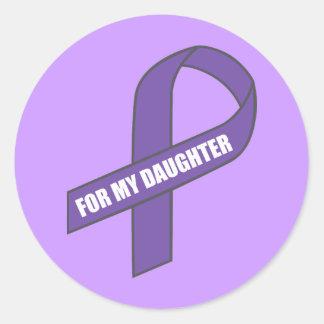 Para mi hija (cinta púrpura) pegatina redonda