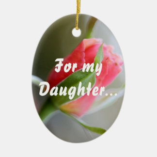 Para mi hija: Estancia fuerte en la fe (1 Timothy Adorno Navideño Ovalado De Cerámica