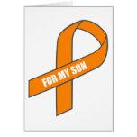 Para mi hijo (cinta anaranjada) tarjeta