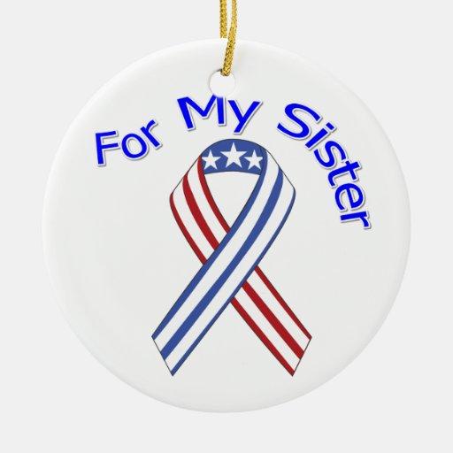 Para mi patriótico militar de la hermana adorno redondo de cerámica