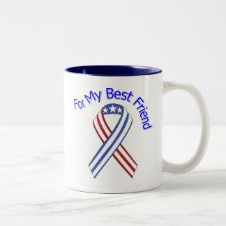 Para mi patriótico militar del mejor amigo taza dos tonos