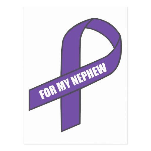 Para mi sobrino (cinta púrpura) tarjeta postal