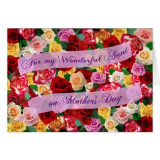 Para mi tía maravillosa el el día de madre - rosas tarjeta de felicitación
