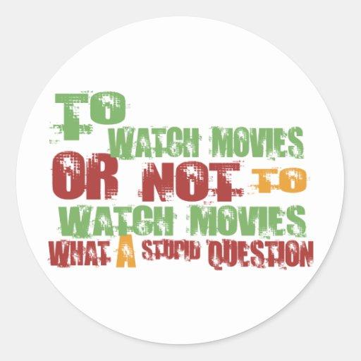 Para mirar películas etiquetas redondas