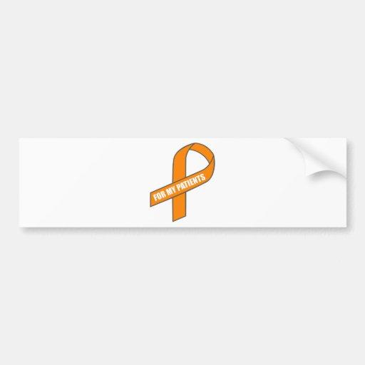 Para mis pacientes (cinta anaranjada) pegatina de parachoque