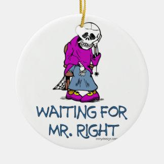 Para Mr.Right que espera Adorno Navideño Redondo De Cerámica