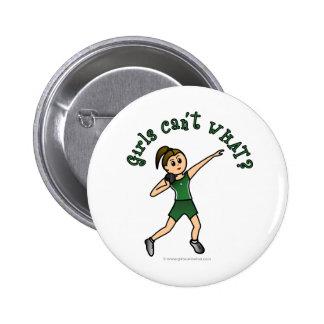 Para mujer ligero lanzamiento de peso en uniforme  pin redondo de 2 pulgadas