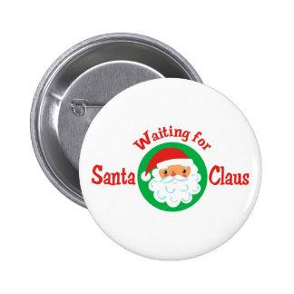 Para Papá Noel que espera Pin Redondo 5 Cm