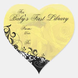 Para placa de libro de la primera biblioteca del pegatina corazón