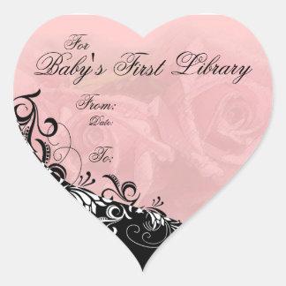 Para placa de libro de la primera biblioteca del calcomanía corazón