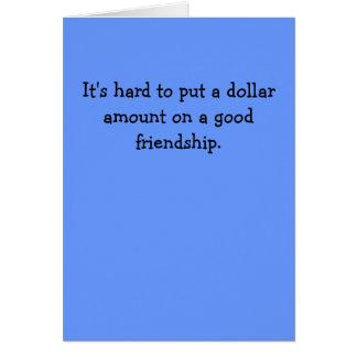 Para poner difícilmente una cantidad del dólar en tarjeta de felicitación