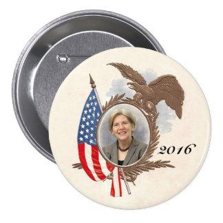 Para presidente en 2016 Elizabeth Warren Pin Redondo De 3 Pulgadas
