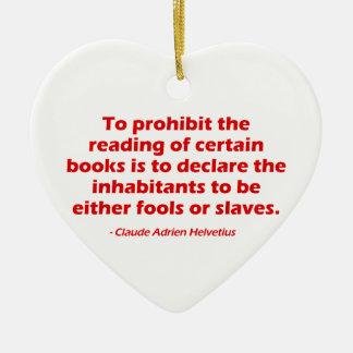 Para prohibir la lectura de ciertos libros adorno navideño de cerámica en forma de corazón