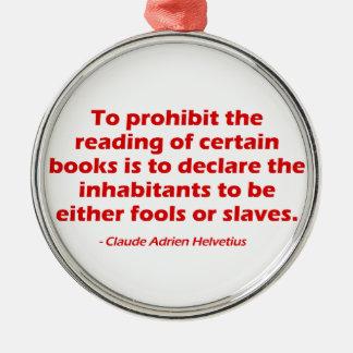 Para prohibir la lectura de ciertos libros adorno navideño redondo de metal