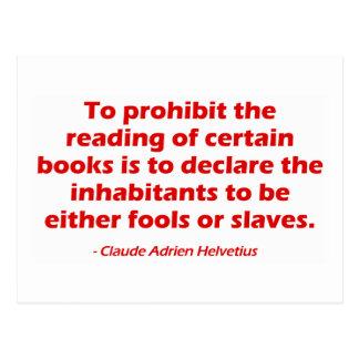 Para prohibir la lectura de ciertos libros postal