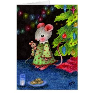 Para ratón de Santa que espera - arte lindo del Tarjeta De Felicitación