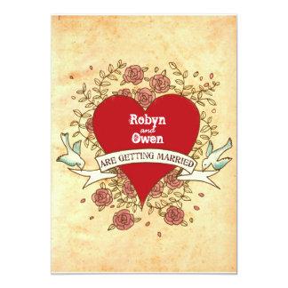 """Para Robyn y Owen: Boda del rock-and-roll (rosas) Invitación 5"""" X 7"""""""