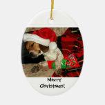 Para Santa que espera - ornamento del navidad del Adorno Navideño Ovalado De Cerámica