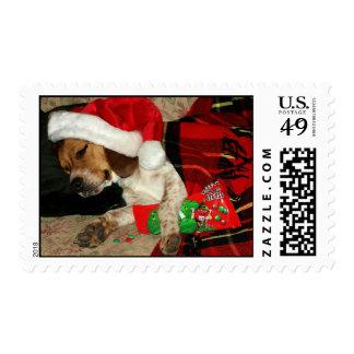 Para sellos del perro del Santa-Navidad que espera