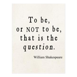 Para ser o no ser que cita de Shakespeare de la Tarjetas Postales