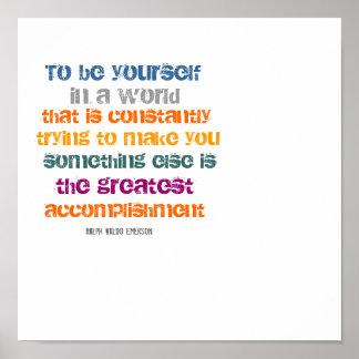 Para ser usted mismo cita de Ralph Waldo Emerson Poster