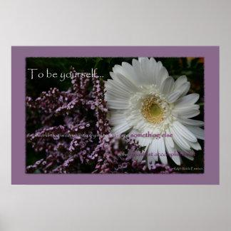 Para ser usted mismo estampado de flores blanco de impresiones