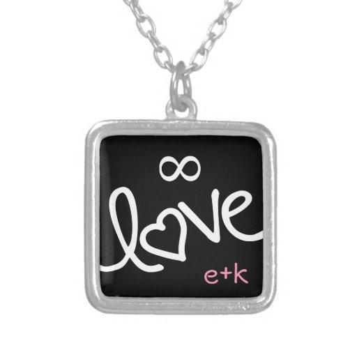 para siempre amor - personalizado collar plateado