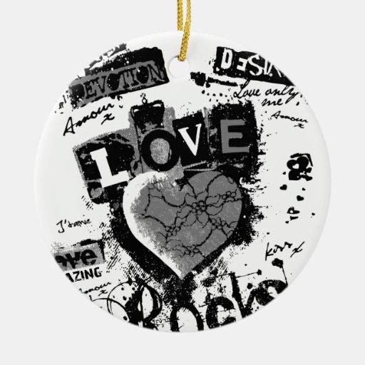 Para siempre corazón del amor adorno