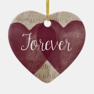 Para siempre corazones adorno de cerámica en forma de corazón