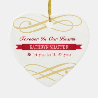 Para siempre en nuestra memoria de los corazones adorno navideño de cerámica en forma de corazón