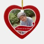 Para siempre en nuestro navidad de los corazones adorno de cerámica en forma de corazón