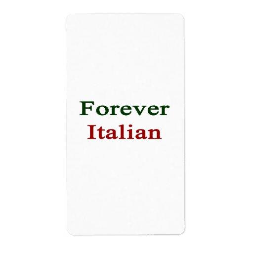 Para siempre italiano etiquetas de envío