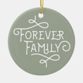 Para siempre ornamento de encargo del árbol de la adorno navideño redondo de cerámica