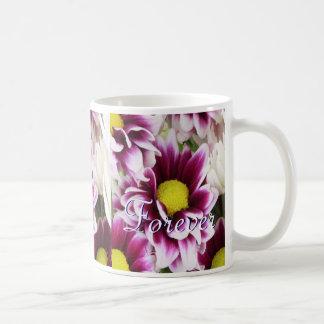 Para siempre ramo de la púrpura del amor taza de café