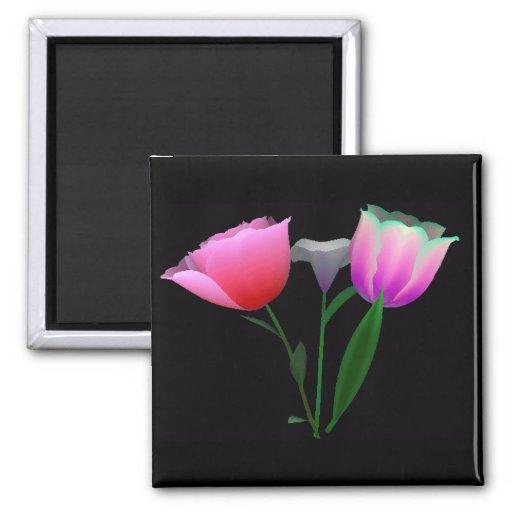 Para siempre tulipanes 1 imán cuadrado